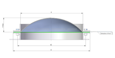 [Translate to Chinese:] Technical drawing rupture disc / bursting disc ODV